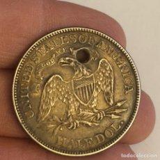 Monedas antiguas de América: HALF DOLLAR 1871 , EBC + PATINA PRECIOSA, PERFORADA. Lote 242147060
