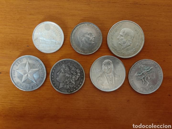 INTERESANTE LOTE DE 7 MONEDAS DE PLATA.TODAS DIFERENTES.ORIGINALES.NO REPRODUCCIÓN (Numismática - Extranjeras - América)