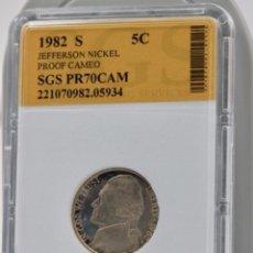 Monedas antiguas de América: CINCO CÉNTIMOS USA,1982 ENCAPSULADO. Lote 244538465
