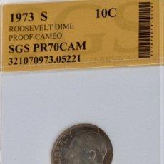 Monedas antiguas de América: DIEZ CÉNTIMOS USA, 1973 ENCAPSULADO. Lote 244539690