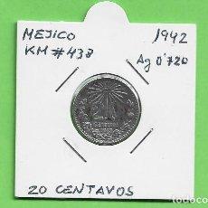 Monedas antiguas de América: PLATA-MEXICO. 20 CENTAVOS 1942. 3,33 GR DE LEY 0,720. KM#438. Lote 244754450