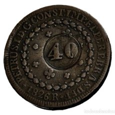 Monedas antiguas de América: MONEDA DE BRASIL, 80 REIS DE 1826 RESELLADA A 40 REIS EN 1835. Lote 244768085