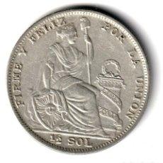 Monnaies anciennes d'Amérique: PERU 1/2 SOL PLATA 1935 S/C FIRME Y FELIZ POR LA UNION - LIMA. Lote 245254645