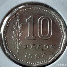 Monedas antiguas de América: ARGENTINA 10 PESOS 1967. Lote 245403515