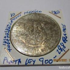 Monete antiche di America: MEXICO 10 PESOS 1960. PLATA LEY 900. GRAMOS 28,8. INDEPENDENCIA 1810 1910. (EBC). Lote 245425220