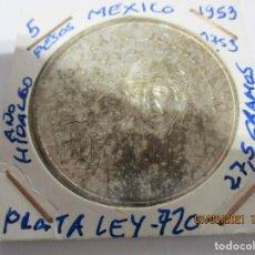 Monete antiche di America: MEXICO 5 PESOS 1953. PLATA LEY 720. GRAMOS 27,5. AÑO DEL HIDALGO 1753 1953. Lote 245427965
