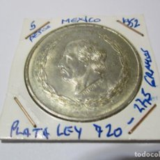 Monete antiche di America: MEXICO 5 PESOS 1952. PLATA LEY 720. GRAMOS 27,5. HIDALGO . (BC). Lote 245430195