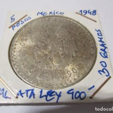 Monete antiche di America: MEXICO 5 PESOS 1948. PLATA LEY 900. GRAMOS 30. CUAUHTEMOC. INDIO. (BC). Lote 245431875