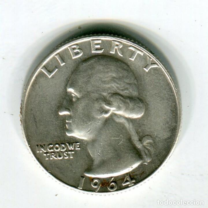 ESTADOS UNIDOS CUARTO DE DOLAR AÑO 1964 CECA D PLATA (Numismática - Extranjeras - América)
