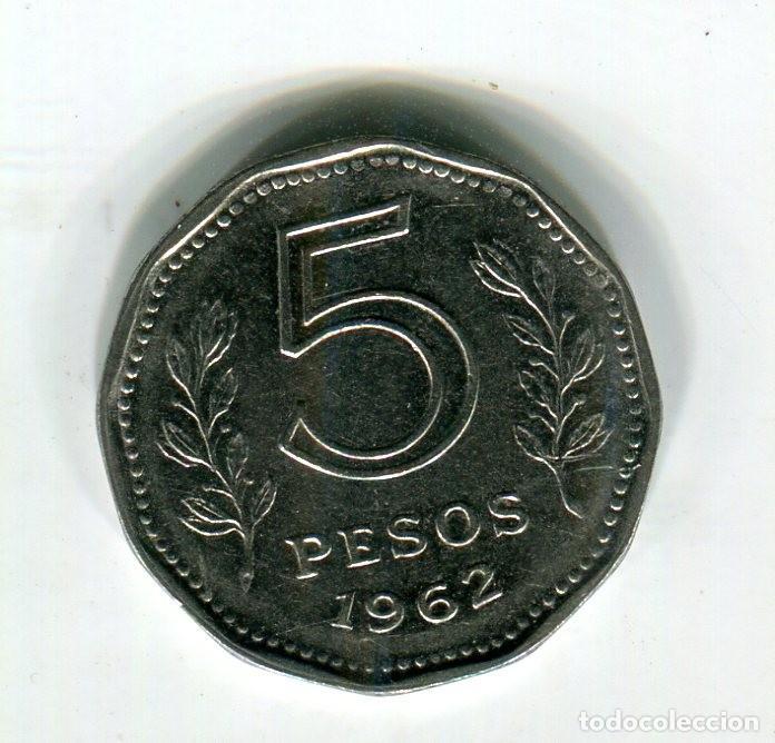 Monedas antiguas de América: ARGENTINA 5 PESOS AÑO 1962 - S - - Foto 2 - 246039185
