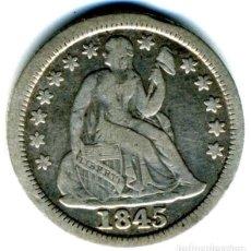 Monedas antiguas de América: XS- USA DIME 1845 PLATA EEUU. Lote 246362260