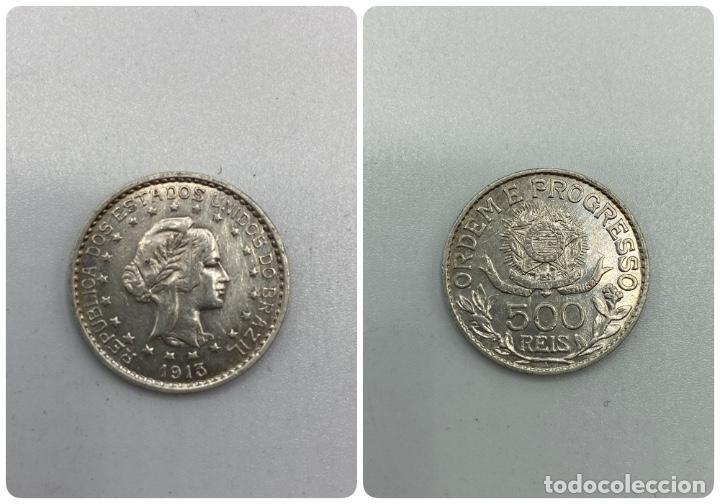 MONEDA. REPUBLICA DE LOS ESTADOS UNIDOS DE BRASIL. 500 REIS. 1913. VER FOTOS. (Numismática - Extranjeras - América)