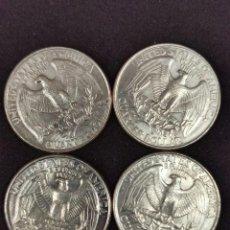 Monedas antiguas de América: LOTE DE CUATRO MONEDAS DE CUARTO DE DOLAR USA AÑOS 89-90-91-92. Lote 246670295