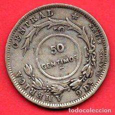 Monedas antiguas de América: COSTA RICA - 50 CENTIMOS DE PLATA - 1923 RESELLADA - CONTRAMARCADA SOBRE 25 CENTAVOS DE 1892. Lote 247060940