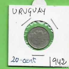 Monedas antiguas de América: PLATA-URUGUAY. 20 CENTESIMOS 1942. 3 GRAMOS DE LEY 0,720 KM#29. Lote 248742520