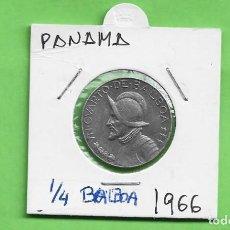 Monedas antiguas de América: PANAMA 1/4 BALBOA 1966. COBRE BAÑADO EN NÍQUEL. KM#11.2A. Lote 249066785