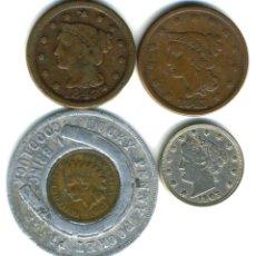 Monedas antiguas de América: XS- ESTADOS UNIDOS LOTE X4 MONEDAS ESCASAS 1843-1903 USA CENT (3) + NICKEL (1). Lote 249401885
