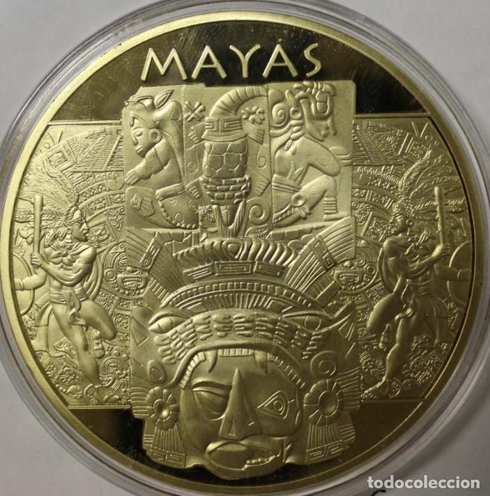 Monedas antiguas de América: MUY BONITO MEDALLON CON ORO DEL TEMPLO DE KUKULKÁN CIUDAD MAYA CHICHÉN ITZÁ - Foto 2 - 174238375