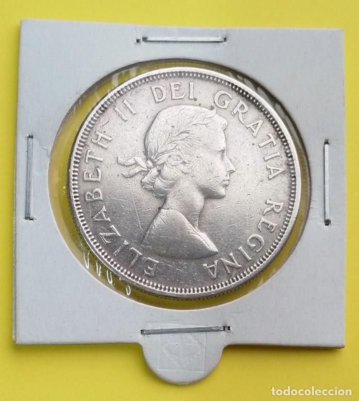 MONEDA DE CANADA 1 DOLAR 1964, 100 ANIVERSARIO DE CHARLOTTETOWN Y LA CIUDAD DE QUEBEC (Numismática - Extranjeras - América)