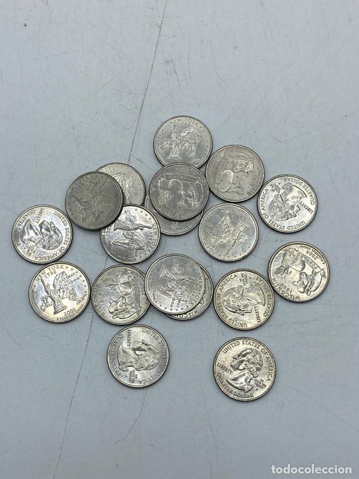 LOTE DE 18 MONEDAS DE EEUU. NEW YORK Y WISCONSIN. QUARTER DOLLAR. CUARTO DOLAR. DEL AÑO 2001 Y 2004. (Numismática - Extranjeras - América)
