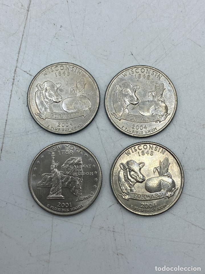 Monedas antiguas de América: LOTE DE 18 MONEDAS DE EEUU. NEW YORK Y WISCONSIN. QUARTER DOLLAR. CUARTO DOLAR. DEL AÑO 2001 Y 2004. - Foto 3 - 251799740