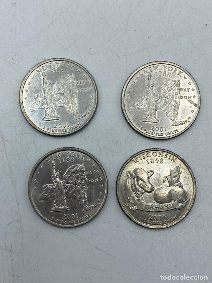 Monedas antiguas de América: LOTE DE 18 MONEDAS DE EEUU. NEW YORK Y WISCONSIN. QUARTER DOLLAR. CUARTO DOLAR. DEL AÑO 2001 Y 2004. - Foto 5 - 251799740