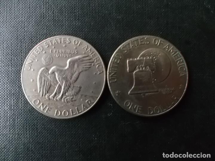 CONJUNTO DE 2 MONEDAS DE 1 DOLAR 1976-78 PRESIDENTE EISENHOWER (Numismática - Extranjeras - América)
