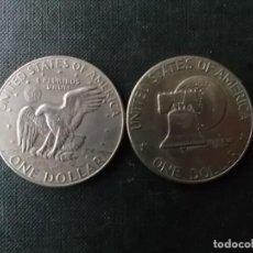 Monedas antiguas de América: CONJUNTO DE 2 MONEDAS DE 1 DOLAR 1976-78 PRESIDENTE EISENHOWER. Lote 253649510