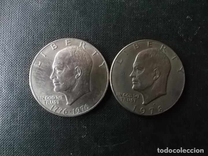 Monedas antiguas de América: conjunto de 2 monedas de 1 dolar 1976-78 presidente Eisenhower - Foto 2 - 253649510