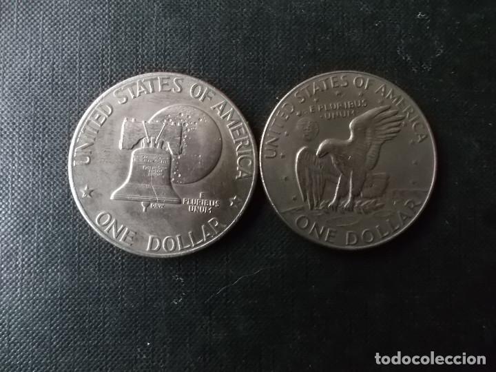 Monedas antiguas de América: conjunto de 2 monedas de 1 dolar 1976-78 presidente Eisenhower - Foto 3 - 253649510