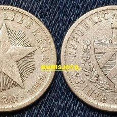 Monete antiche di America: CUBA 20 CENTAVOS DE PLATA CIRCULADA AÑO 1920. 23 MM. KM/13.2. PESO 4,98 GR.. Lote 253716790