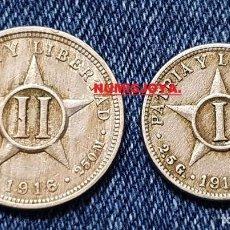Monete antiche di America: CUBA LOTE 2 MONEDAS DE 1 Y 2 CENTAVOS DE PLATA DE 250 MILESIMAS. AÑO 1916.. Lote 253742295