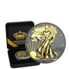 Monedas antiguas de América: SILVER EAGLE - GOLD BLACK EMPIRE 1 OZ PLATA RUTHENIUM & GOLD 1$ DOLLAR USA 2021. Lote 253863370