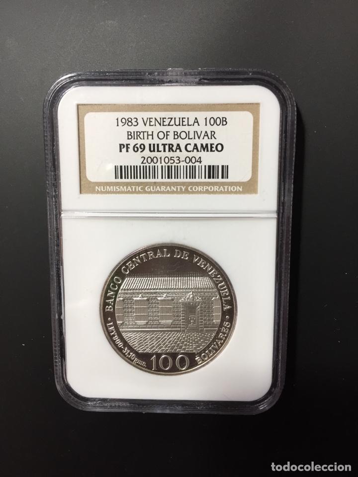 MONEDA PLATA - 100 BOLÍVARES VENEZUELA - 1983 - CERTIFICADA NGC - SIN CIRCULAR PROOF (ORO PTAS ONZA) (Numismática - Extranjeras - América)
