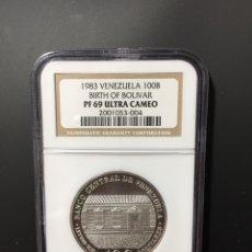 Monedas antiguas de América: MONEDA PLATA - 100 BOLÍVARES VENEZUELA - 1983 - CERTIFICADA NGC - SIN CIRCULAR PROOF (ORO PTAS ONZA). Lote 254596545