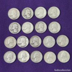 Monedas antiguas de América: 18 MONEDAS USA DIFERENTES QUARTER DOLLAR 1/4 DOLLAR. WHASINGTON. PLATA 900MM. ALGUNAS SIN CIRCULAR.. Lote 254933565