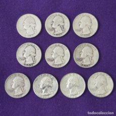 Monedas antiguas de América: 10 MONEDAS USA DIFERENTES QUARTER DOLLAR 1/4 DOLLAR. WHASINGTON. PLATA 900MM. ALGUNAS SIN CIRCULAR.. Lote 254933735