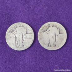 Monedas antiguas de América: 2 MONEDAS USA QUARTER DOLLAR 1/4 DOLLAR. LIBERTY. SIN FECHA. AÑOS 1917 A 1930. PLATA 900MM.. Lote 254934185