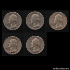 """Monedas antiguas de América: 5 MONEDAS PLATA USA. """"QUARTER DOLLAR"""". SILVER WASHINGTON QUARTERS 1940, 1941, 1942, 1943 Y 1944. Lote 257542100"""