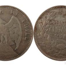 Monedas antiguas de América: REPUBLICA DE CHILE 20 CENTAVOS 1920, PLATA. Lote 257972645