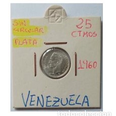Monedas antiguas de América: VENEZUELA 25 CENTIMOS 1960, PLATA, SC. Lote 257997105