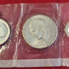 Monedas antiguas de América: 3 MONEDAS ESTADOS UNIDOS DOLAR MEDIO Y QUARTER CONMEMORATIVAS PLATA 1976 SC ORIGINAL C4. Lote 258939595