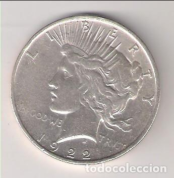 MONEDA DE DÓLAR (LIBERTY) DE ESTADOS UNIDOS DE 1922-D. PLATA. MBC. (ME1273). (Numismática - Extranjeras - América)