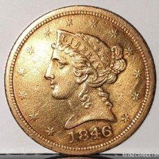Monedas antiguas de América: UNITED STATES OF AMERICA - FIVE DOLLAR - MONEDA, ORO 18 QUILATES. Lote 261533955