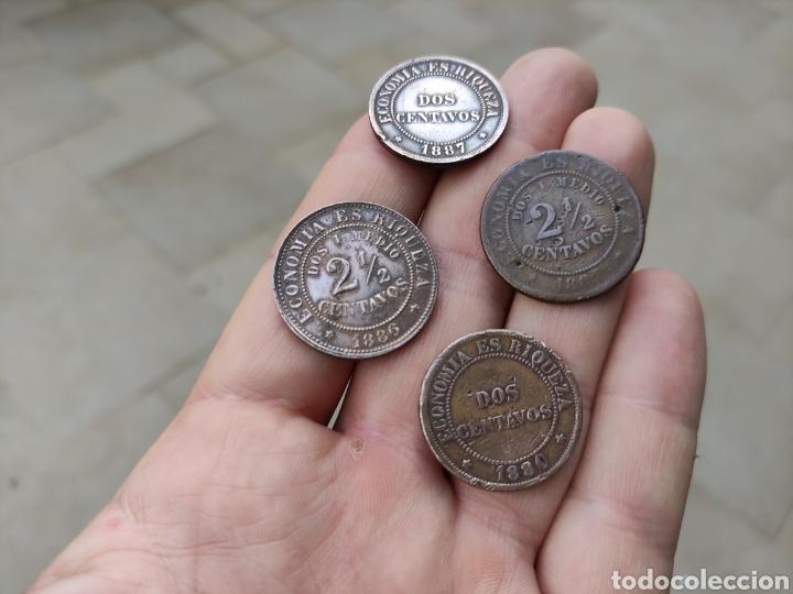 Monedas antiguas de América: Lote de 4 monedas. república de Chile. 1880 a 1887. - Foto 2 - 262030310