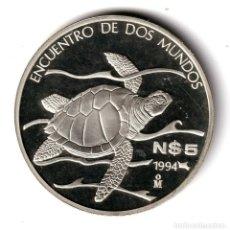 Monedas antiguas de América: MEXICO 5 NUEVOS PESOS PLATA 1994 PROOF TORTUGA - ENCUENTRO DE DOS MUNDOS. Lote 262446095