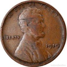 Monedas antiguas de América: MONEDA, ESTADOS UNIDOS, LINCOLN CENT, CENT, 1910, U.S. MINT, PHILADELPHIA, BC+. Lote 262729960