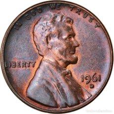 Monedas antiguas de América: MONEDA, ESTADOS UNIDOS, LINCOLN CENT, CENT, 1961, U.S. MINT, DENVER, MBC+. Lote 262730045