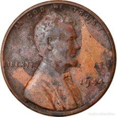 Monedas antiguas de América: MONEDA, ESTADOS UNIDOS, LINCOLN CENT, CENT, 1944, U.S. MINT, PHILADELPHIA, BC+. Lote 262730370