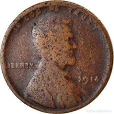 Monedas antiguas de América: MONEDA, ESTADOS UNIDOS, LINCOLN CENT, CENT, 1914, U.S. MINT, PHILADELPHIA, BC. Lote 262730470